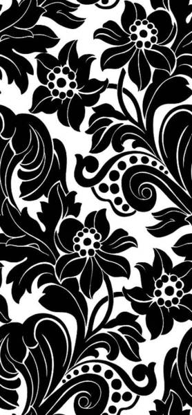 Wall Art - Photograph - Black Floral Pattern On White With Dots by Gillham Studios