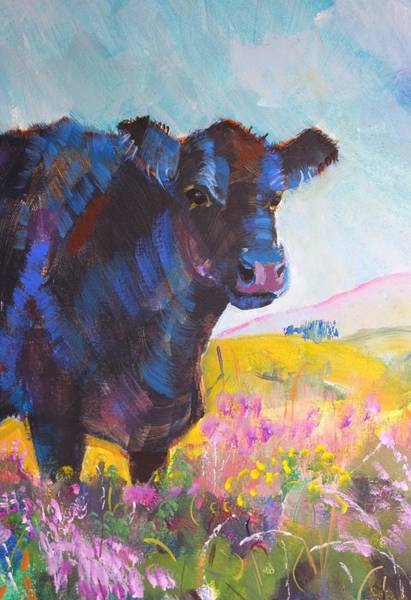 Painting - Black Fluffy Cow In Heather by Mike Jory