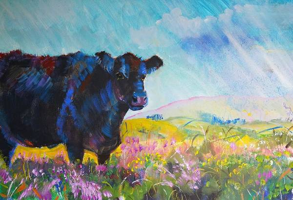 Painting - Black Fluffy Cow On Dartmoor by Mike Jory