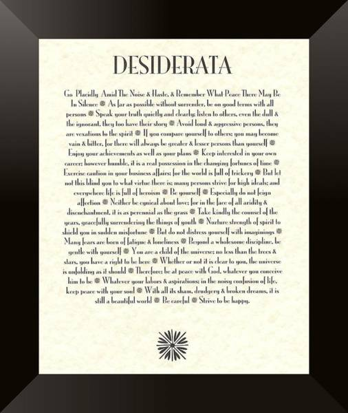 Wise Wall Art - Mixed Media - Black Border Sunburst Desiderata Poem by Desiderata Gallery