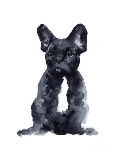 France Wall Art - Painting - Black French Bulldog Watercolor Poster by Joanna Szmerdt