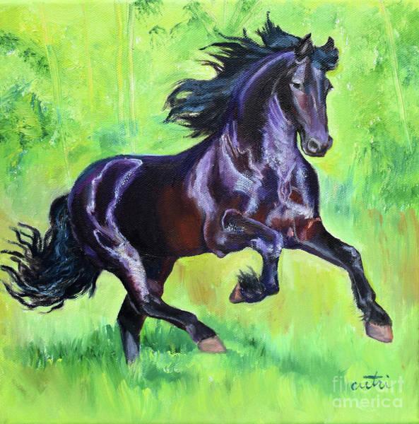 Painting - Black Friesian Horse by Anne Cameron Cutri