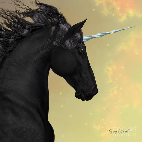 Black Buck Painting - Black Friesian Unicorn by Corey Ford