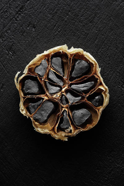 Asian Food Photograph - Black Garlic Cross-section by Johan Swanepoel