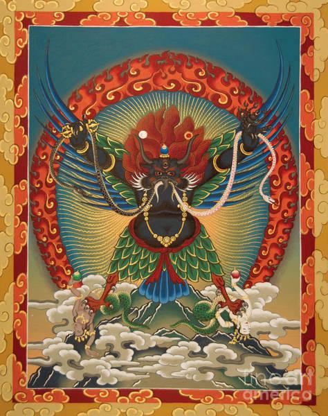 Thangka Painting - Black Garuda - Tsasum Tersar by Sergey Noskov
