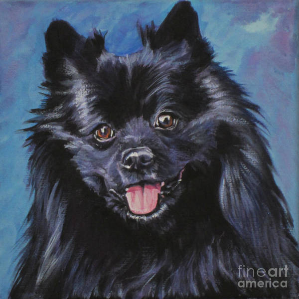 Pomeranian Painting - Black German Spitz by Lee Ann Shepard