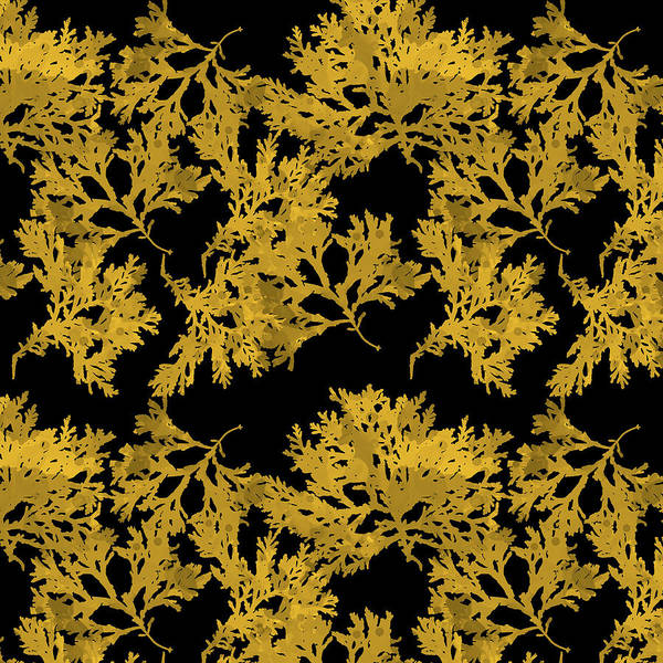Mixed Media - Black And Gold Leaf Pattern by Christina Rollo