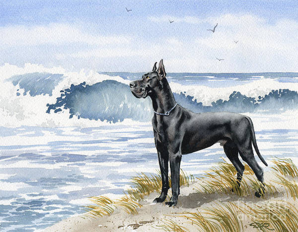 Black Great Dane Painting - Black Great Dane At The Beach by David Rogers