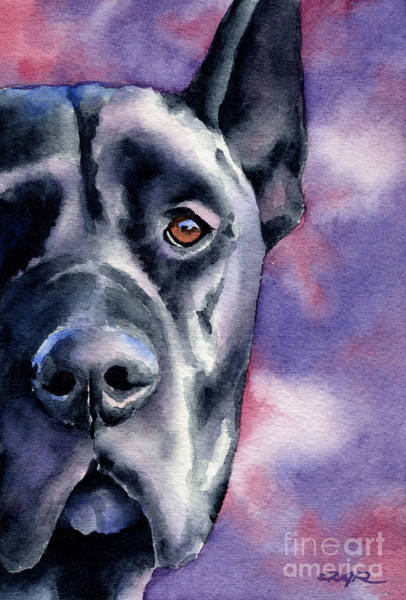 Black Great Dane Painting - Black Great Dane by David Rogers
