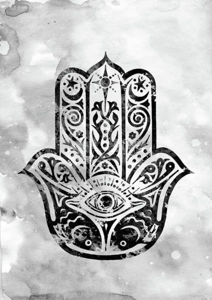 Hamsa Wall Art - Digital Art - Hamsa Hand-black by Erzebet S