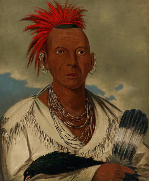 Wall Art - Painting - Black Hawk Chief Of The Saux And Fox Tribe by George Catlin