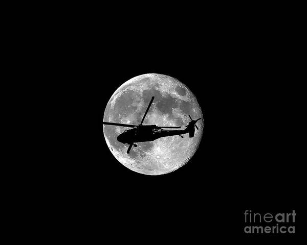 Utility Helicopter Photograph - Black Hawk Moon .png by Al Powell Photography USA