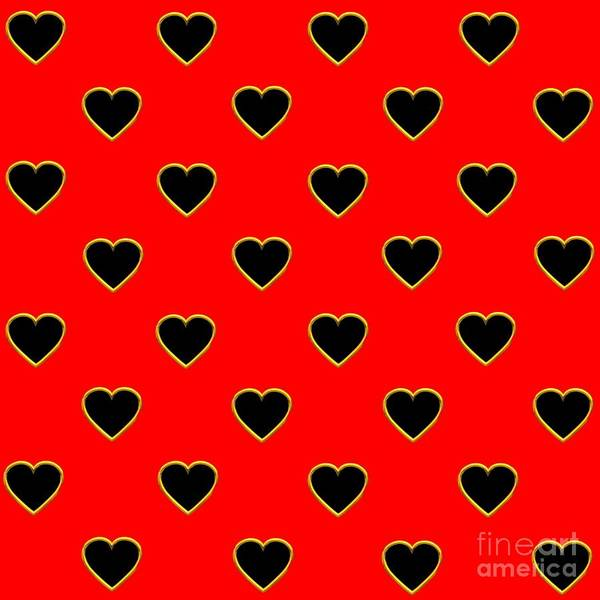 Photograph - Black Hearts On A Red Background Saint Valentines Day Love And Romance by Rose Santuci-Sofranko