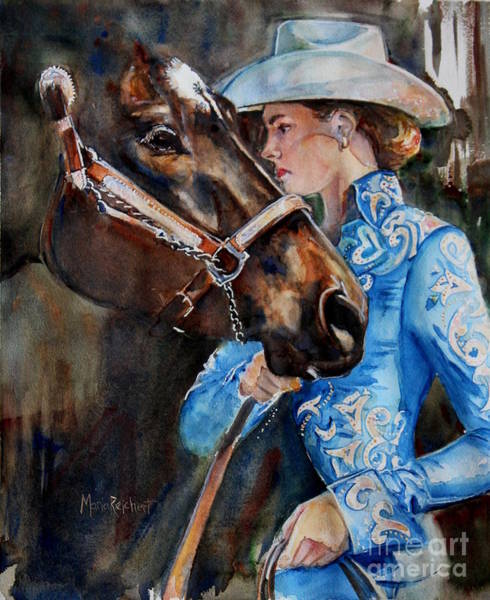 Aqha Painting - Black Horse And Cowgirl   by Maria's Watercolor