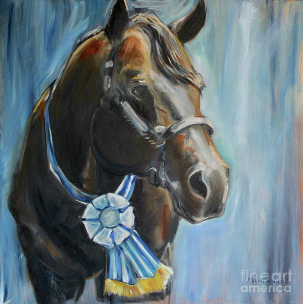 Aqha Painting - Black Horse Blue Ribbon by Maria's Watercolor