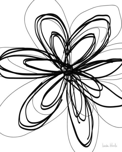 Woods Drawing - Black Ink Flower 1- Art By Linda Woods by Linda Woods