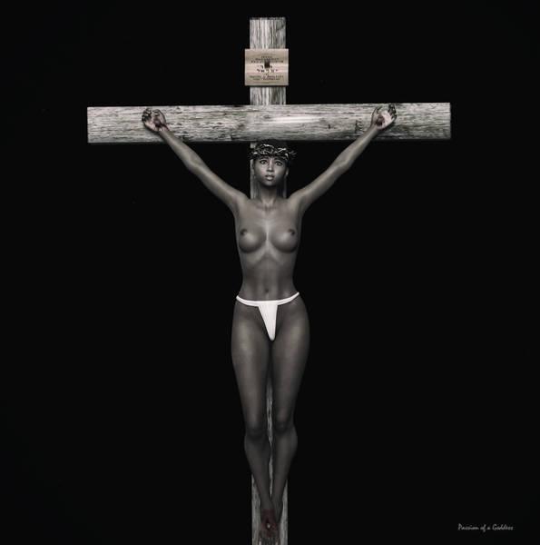 Wall Art - Digital Art - Black Jesus 3d Crucifix by Ramon Martinez
