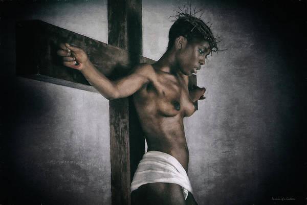 Croce Digital Art - Black Jesus Painting by Ramon Martinez