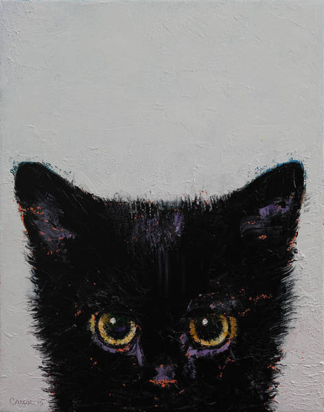 Crazy Cat Painting - Black Kitten by Michael Creese