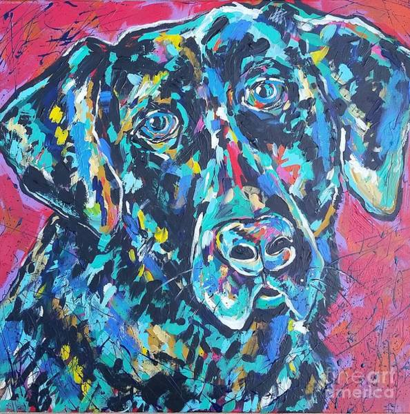 Wall Art - Painting - Black Lab by Arrin Burgand