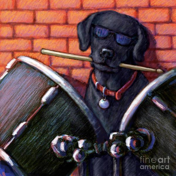 Black Lab Mixed Media - Black Lab Drummer by Kathleen Harte Gilsenan