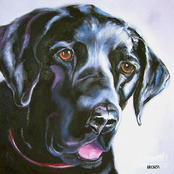 Mutt Painting - Black Lab No Ordinary Love by Susan A Becker