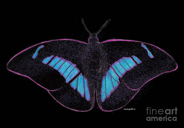 Neon Lights Mixed Media - Black Light Butterfly by Nancy Mergybrower