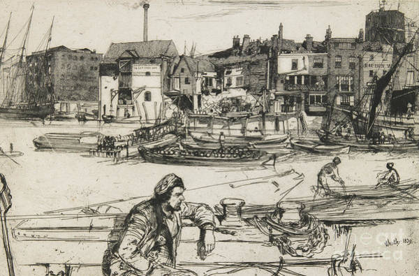 Pier Drawing - Black Lion Wharf by James Abbott McNeill Whistler