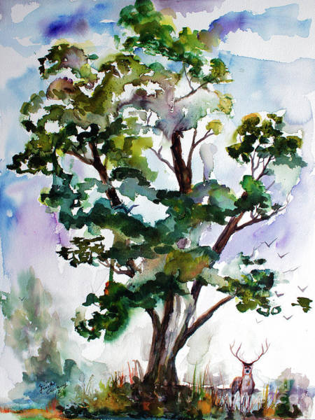 Painting - Black Locust Tree And Deer Landscape Portrait by Ginette Callaway