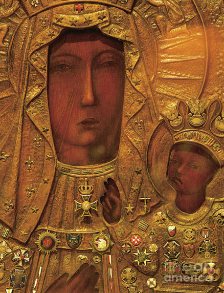 Carving Painting - Black Madonna by Polish School