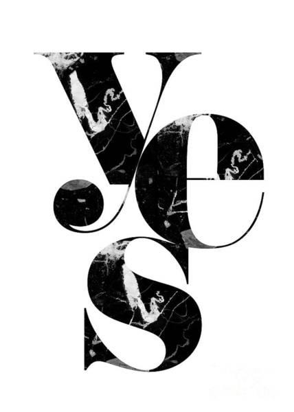Nordic Digital Art - Black Marble Yes Art by Natalie