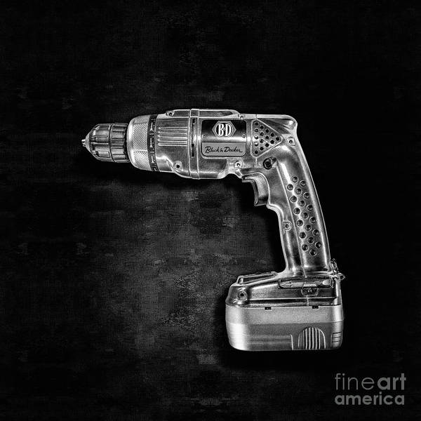 Wall Art - Photograph - Black N Decker Retro Drill Bw by YoPedro