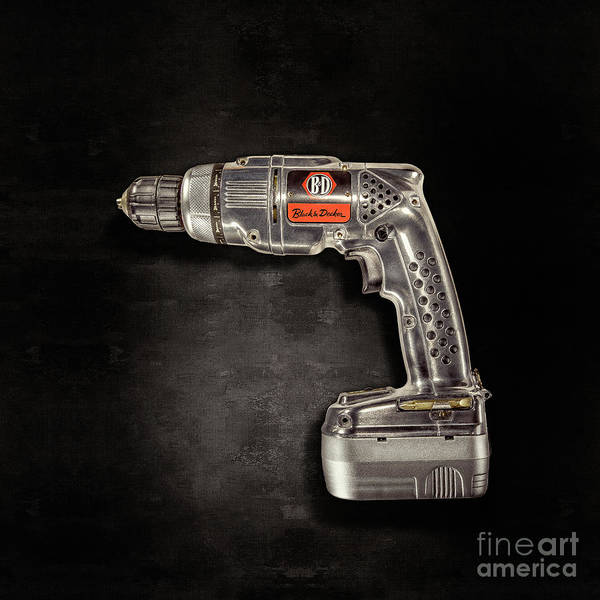 Wall Art - Photograph - Black N Decker Retro Drill On Black by YoPedro