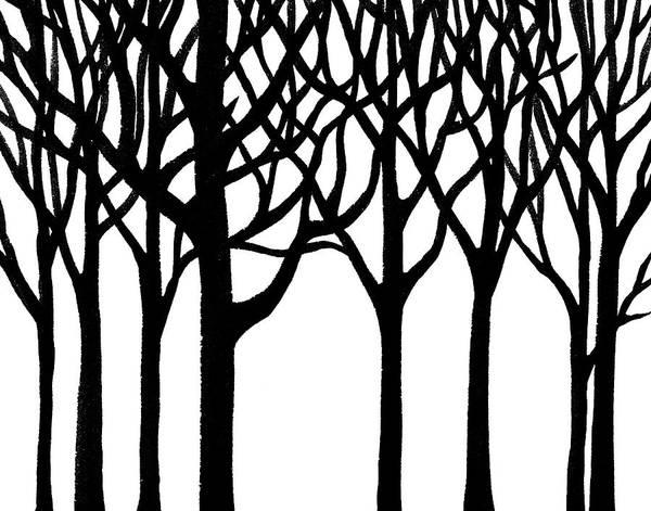 Into The Woods Wall Art - Painting - Black N White Forest by Irina Sztukowski
