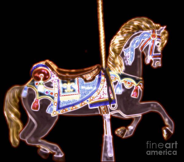 Digital Art - Black Neon Carousel Horse by Patty Vicknair
