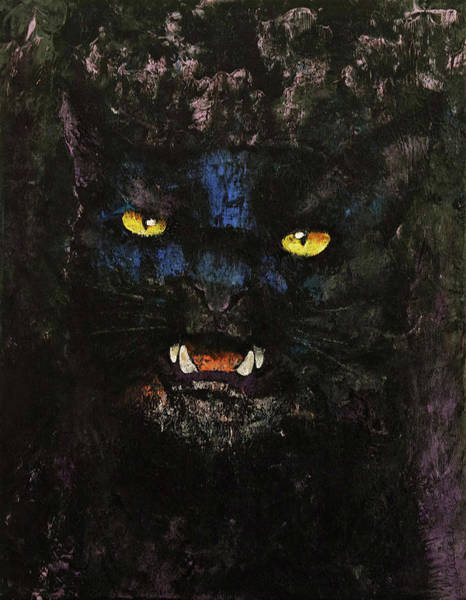 Crazy Cat Painting - Black On Black Cat by Michael Creese
