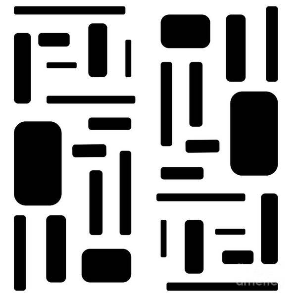 Digital Art - Black On White Rectangular Design by Barefoot Bodeez Art