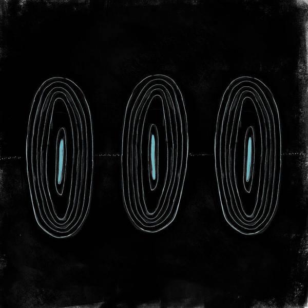 Oval Digital Art - Black Ovals Trio by Kathryn Humphrey