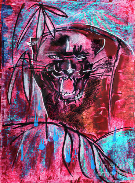 Drawing - Black Panther,  Original Painting by Ariadna De Raadt