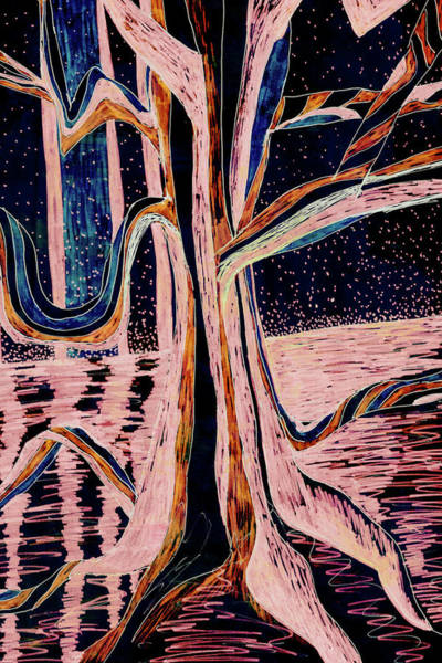 Painting - Black-peach Moonlight River Tree by Gecko Joy