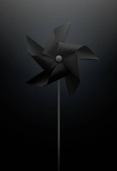 Rotating Digital Art - Black Pinwheel by Allan Swart