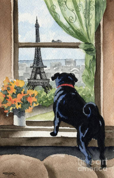 Wall Art - Painting - Black Pug In Paris by David Rogers