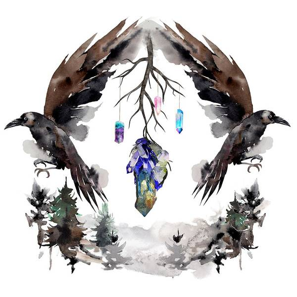Wall Art - Painting - Black Ravens In The Crystal Woods by Little Bunny Sunshine