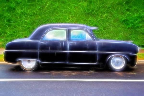 Photograph - Black Retro Car On Road by John Williams