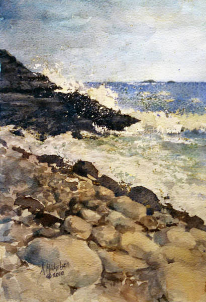 Painting - Black Rocks - Lake Superior by Christie Martin