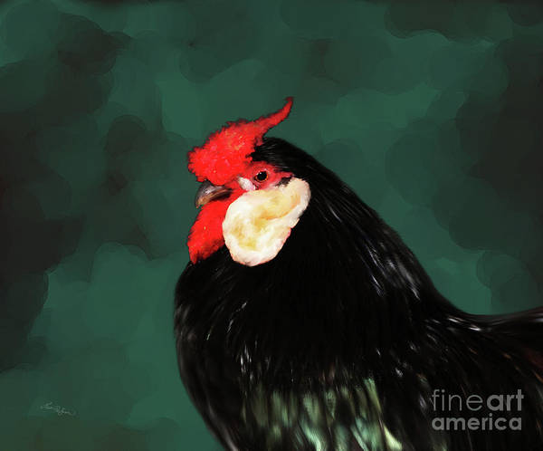 Digital Art - Black Rooster Number Two by Lisa Redfern