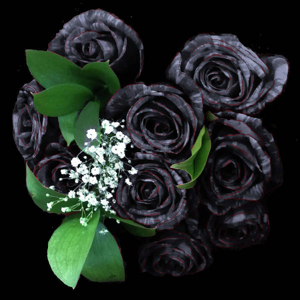 Digital Art - Black Roses Bouquet by Teresa Epps