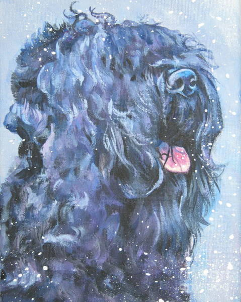 Russian Painting - Black Russian Terrier In Snow by Lee Ann Shepard