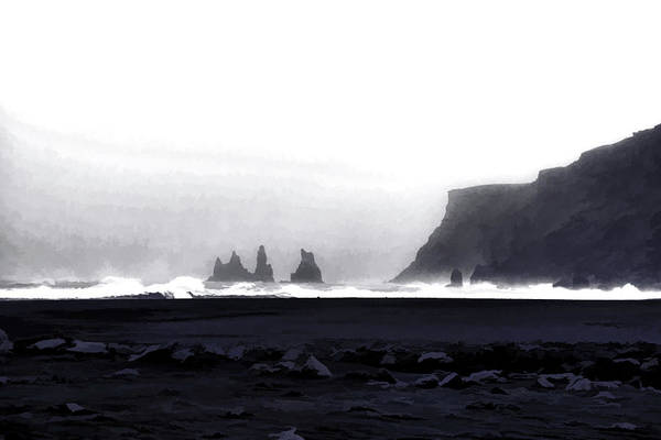 Icelandic Digital Art - Black Sand Beach Of Vik by Allen Beatty