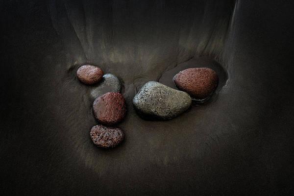 Rock Island Line Photograph - Black Sand Stones by Christopher Johnson